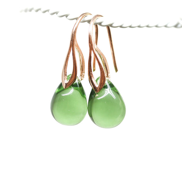 Light olivine drop glass pendant on rose gold coated chain