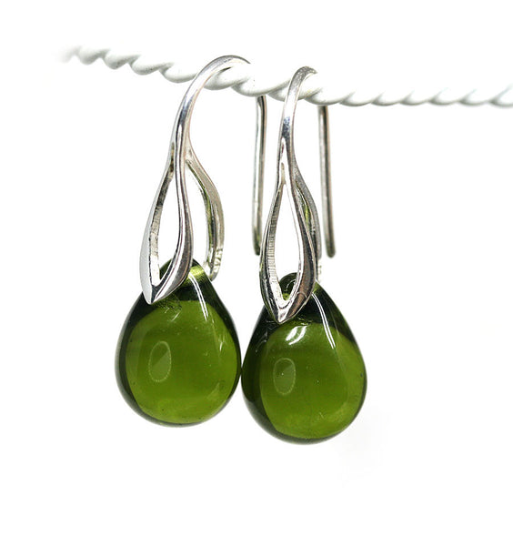 Olive green drop glass pendant on sterling silver chain