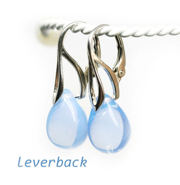 Opal blue drop glass earrings sterling silver ear wires