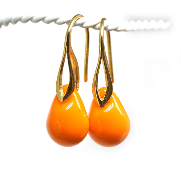 Opaque bright orange drop glass earrings