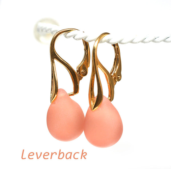 Frosted peach drop glass earrings