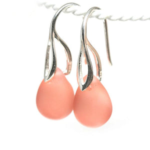 Frosted peach drop glass earrings sterling silver ear wires