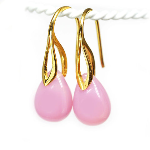 Opal pink drop glass earrings golden coated ear wires