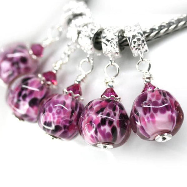 Purple pink European style bracelet dangle charm Pandora style bead