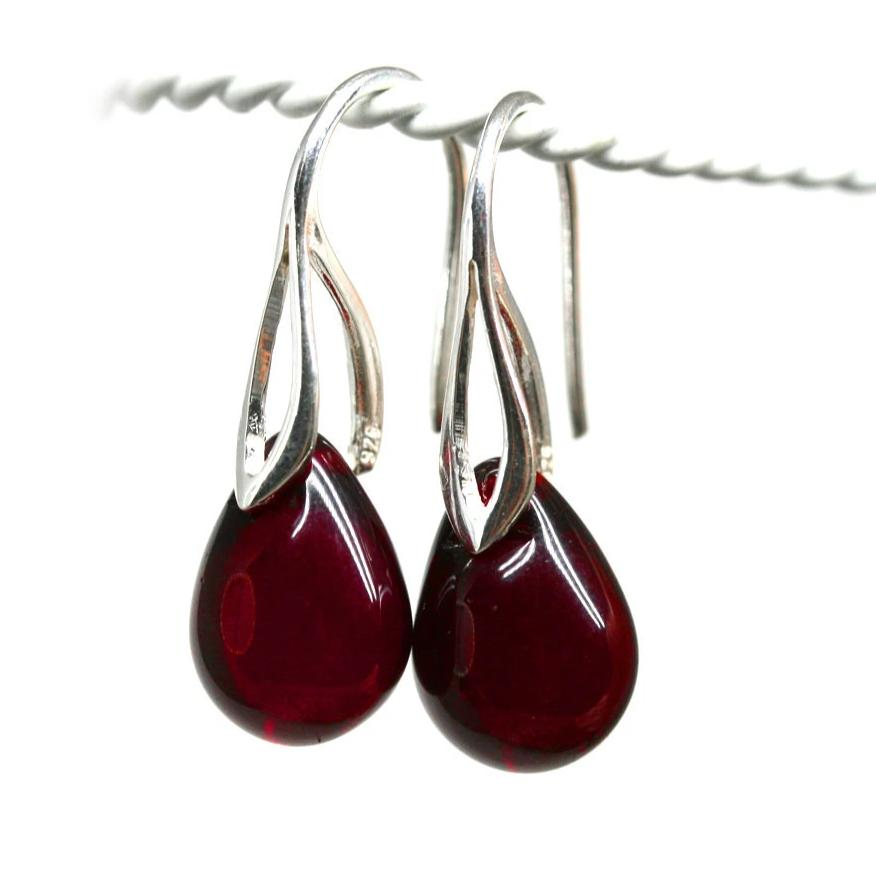 Dark red drop glass earrings sterling silver ear wires