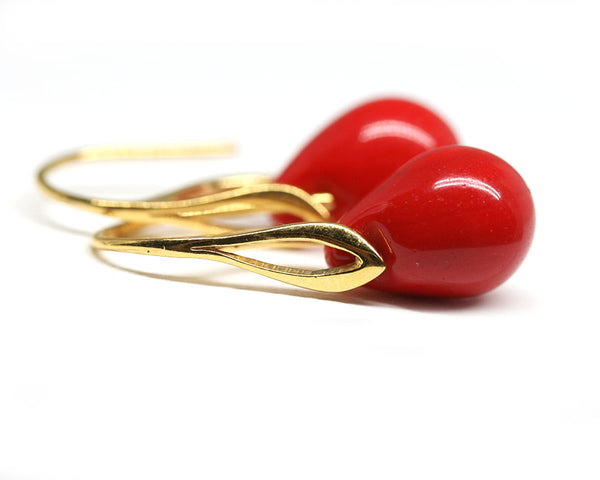 Opaque bright red drop glass earrings