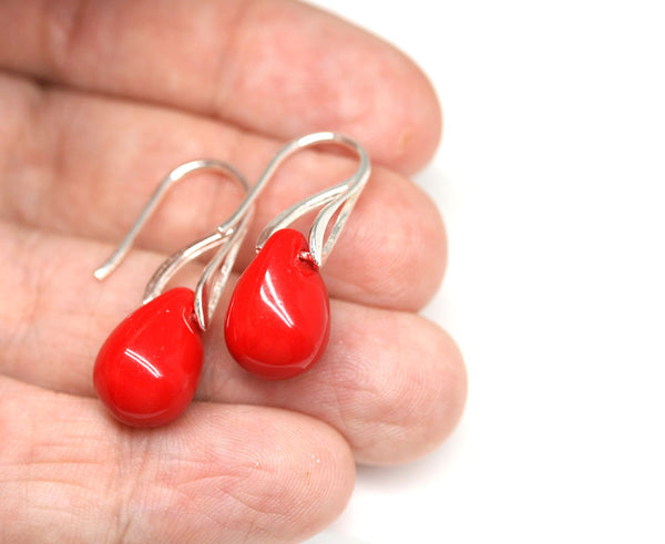 Bright red drop glass pendant on sterling silver chain