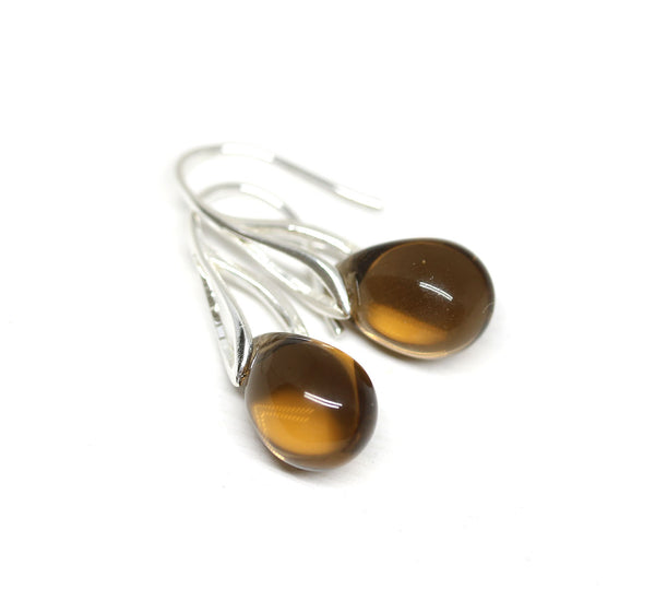 Smokey topaz drop glass earrings