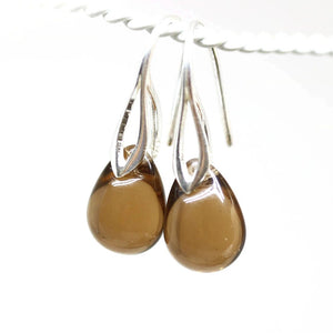 Smokey topaz drop glass earrings sterling silver