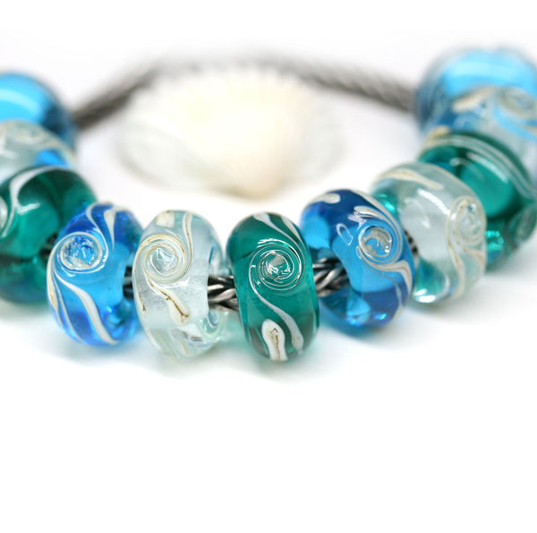 Aqua blue islands European bracelet bead