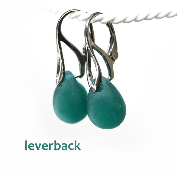 Frosted dark teal drop glass earrings
