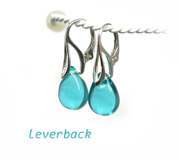 Light teal drop glass sterling silver earrings