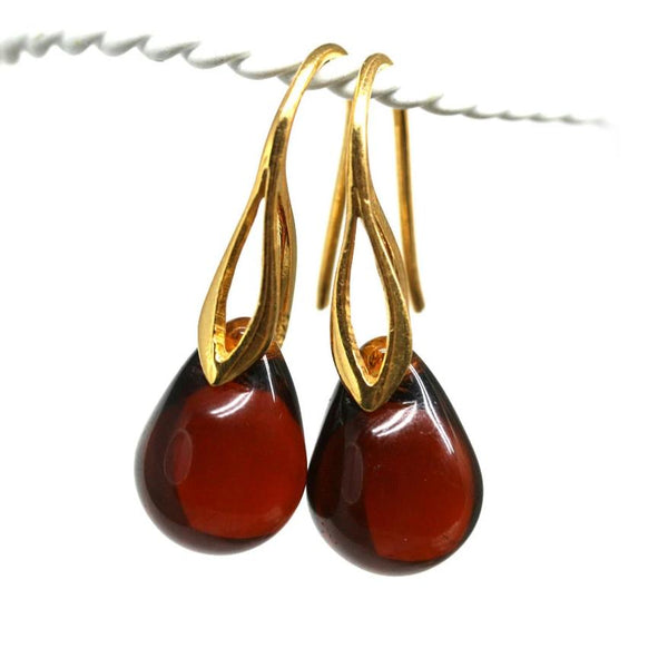 Dark brown topaz drop glass earrings for women
