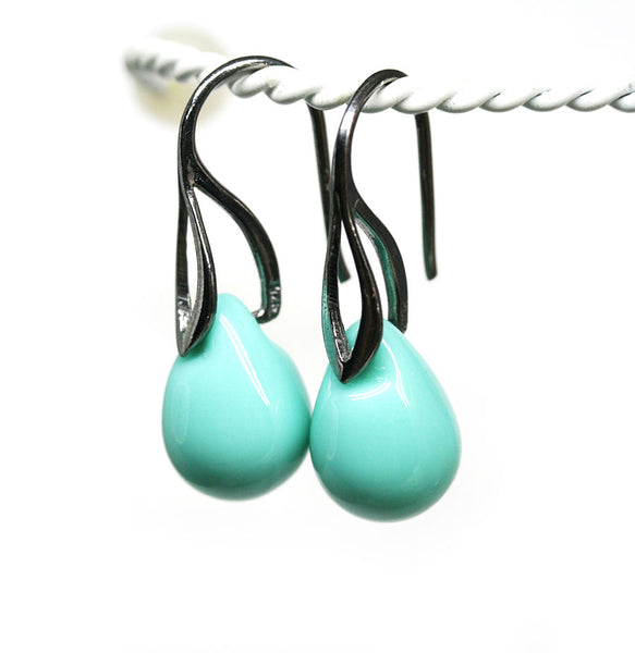 Turquoise green drop glass earrings