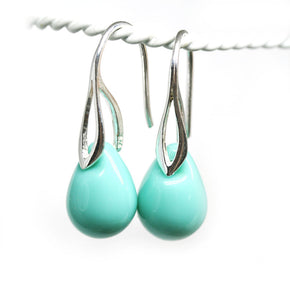 Turquoise green drop glass sterling silver earrings