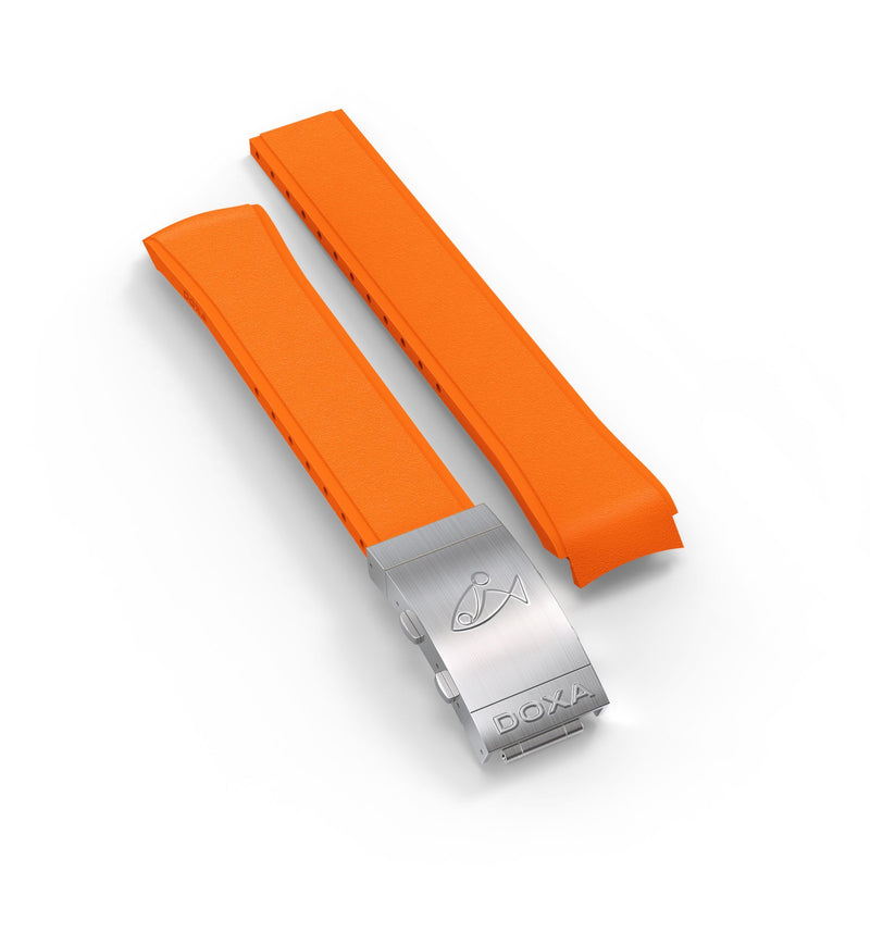 Rubber strap with folding clasp, Orange