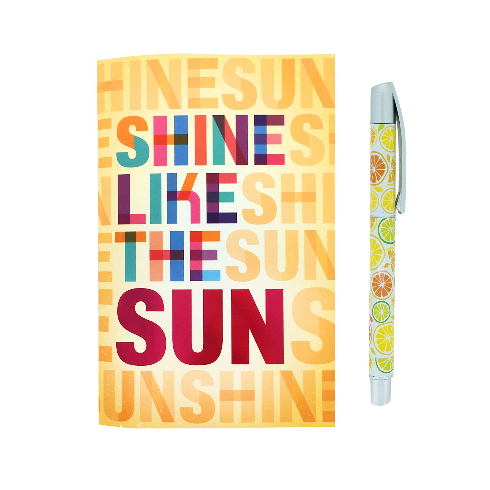Notebook And Silver Clip Pen Set - Shine Like The Sun