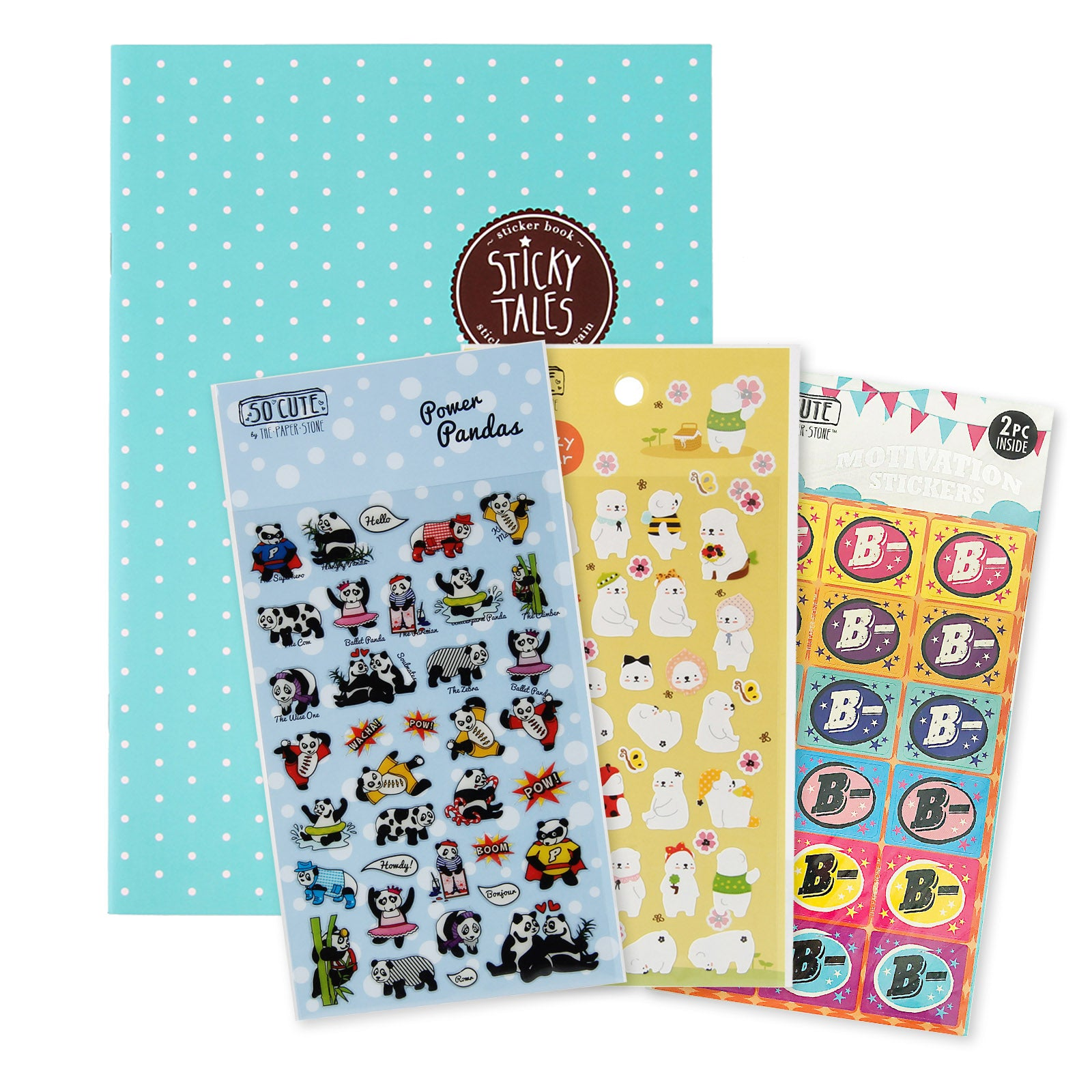 Sticky Tales Set - Blue Polka Dots Sticker Book With 3 Sticker Packs