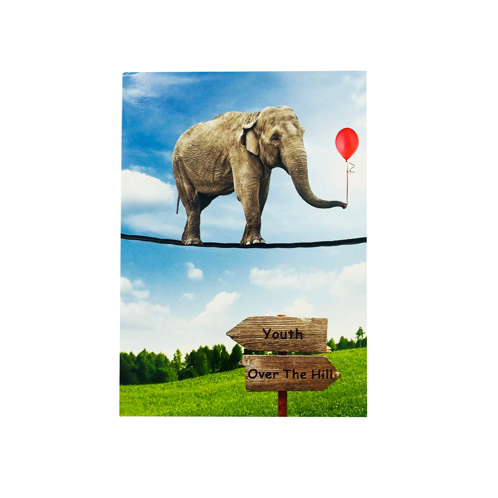 Designer Greetings Birthday Card - Over The Hill - Elephant Tightrope