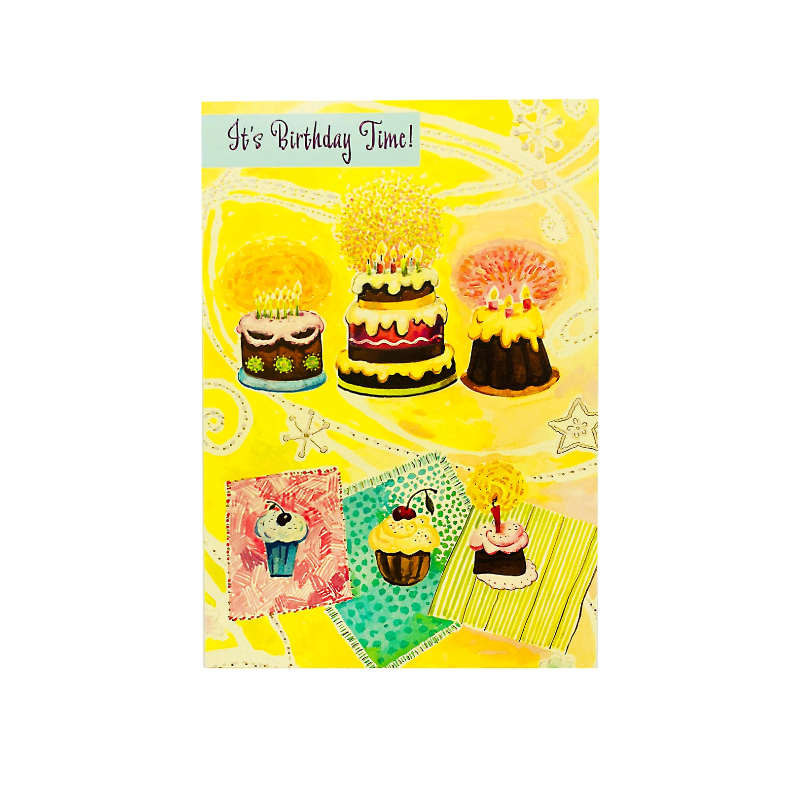 Designer Greetings Birthday Card - It's Birthday Time - Cakes