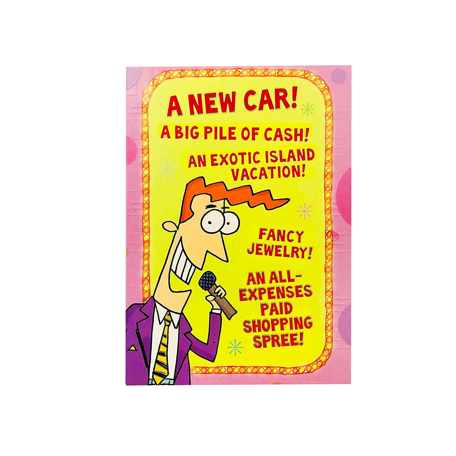 Designer Greetings Birthday Card - A New Car - Game Show Host