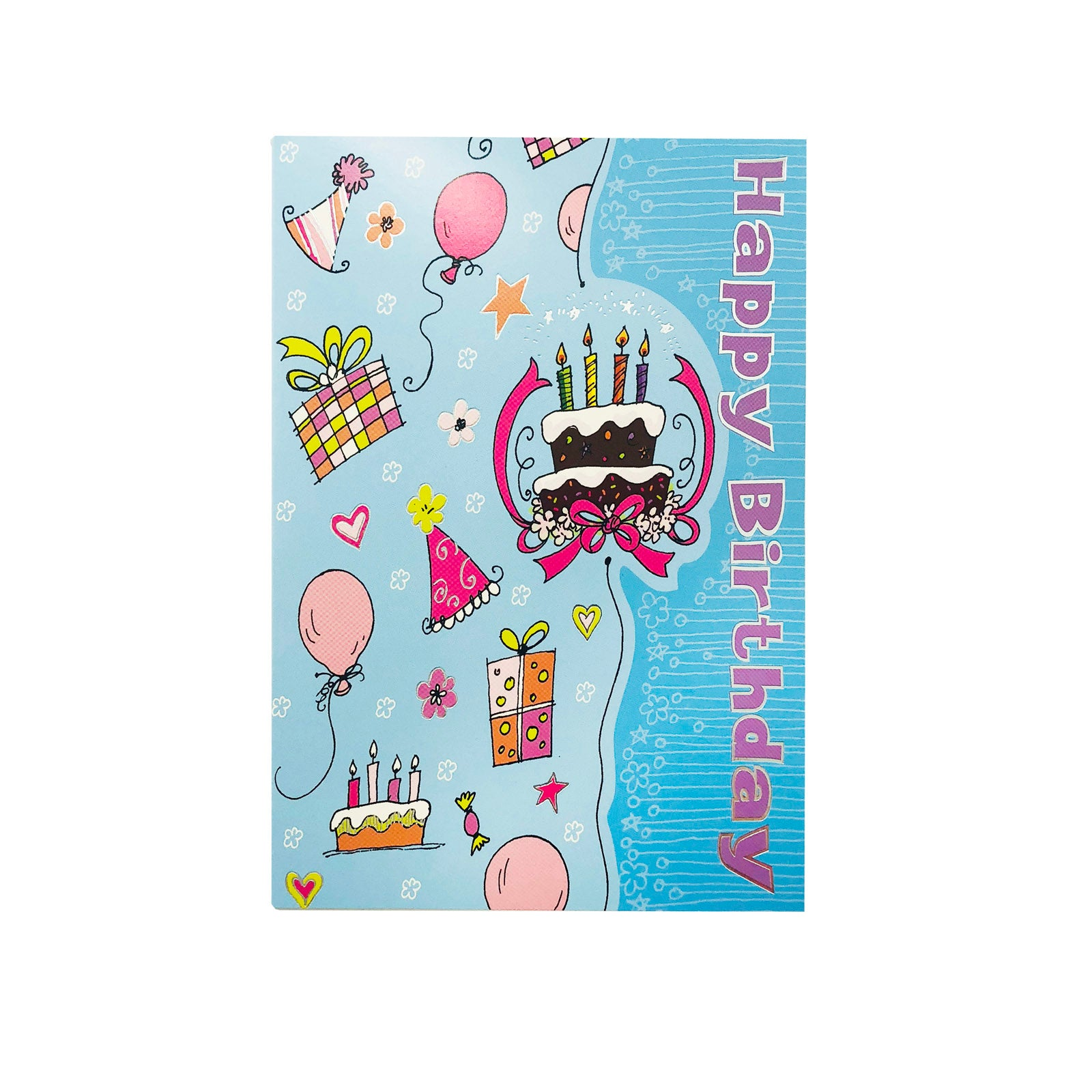 Designer Greetings Birthday Card - Happy Birthday - Party Blue