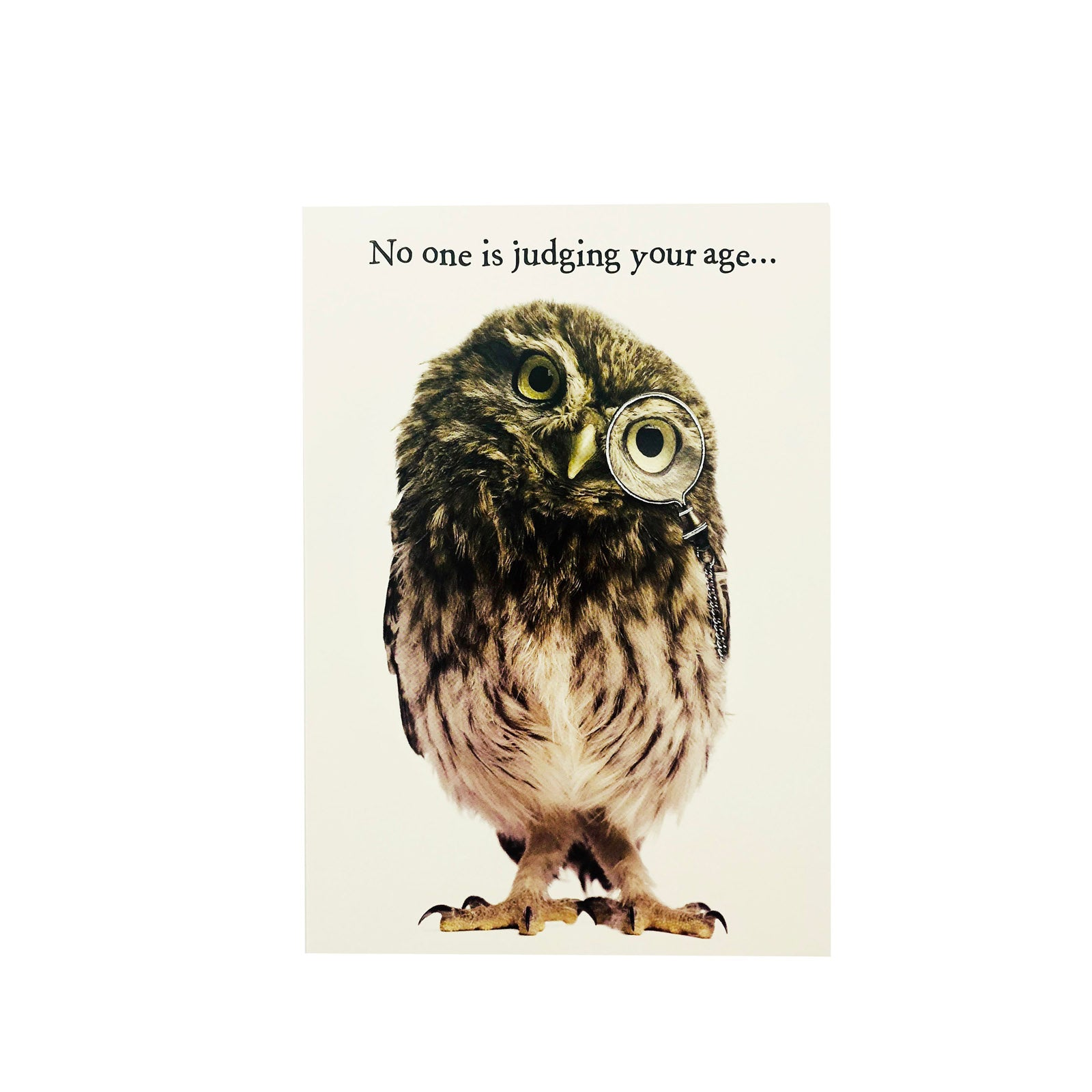 Designer Greetings Birthday Card - No One Is Judging Your Age - Owl