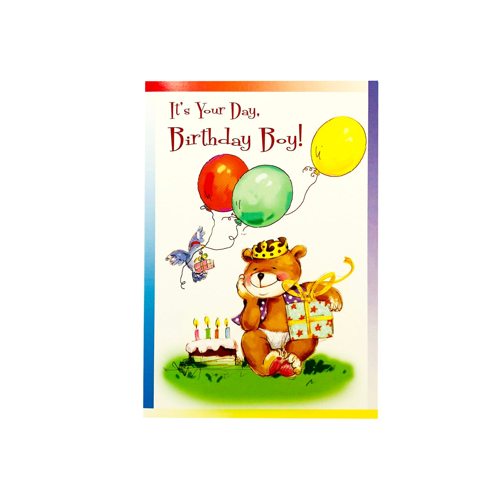 Designer Greetings Birthday Card - It's Your Day Birthday Boy - Balloon Bear