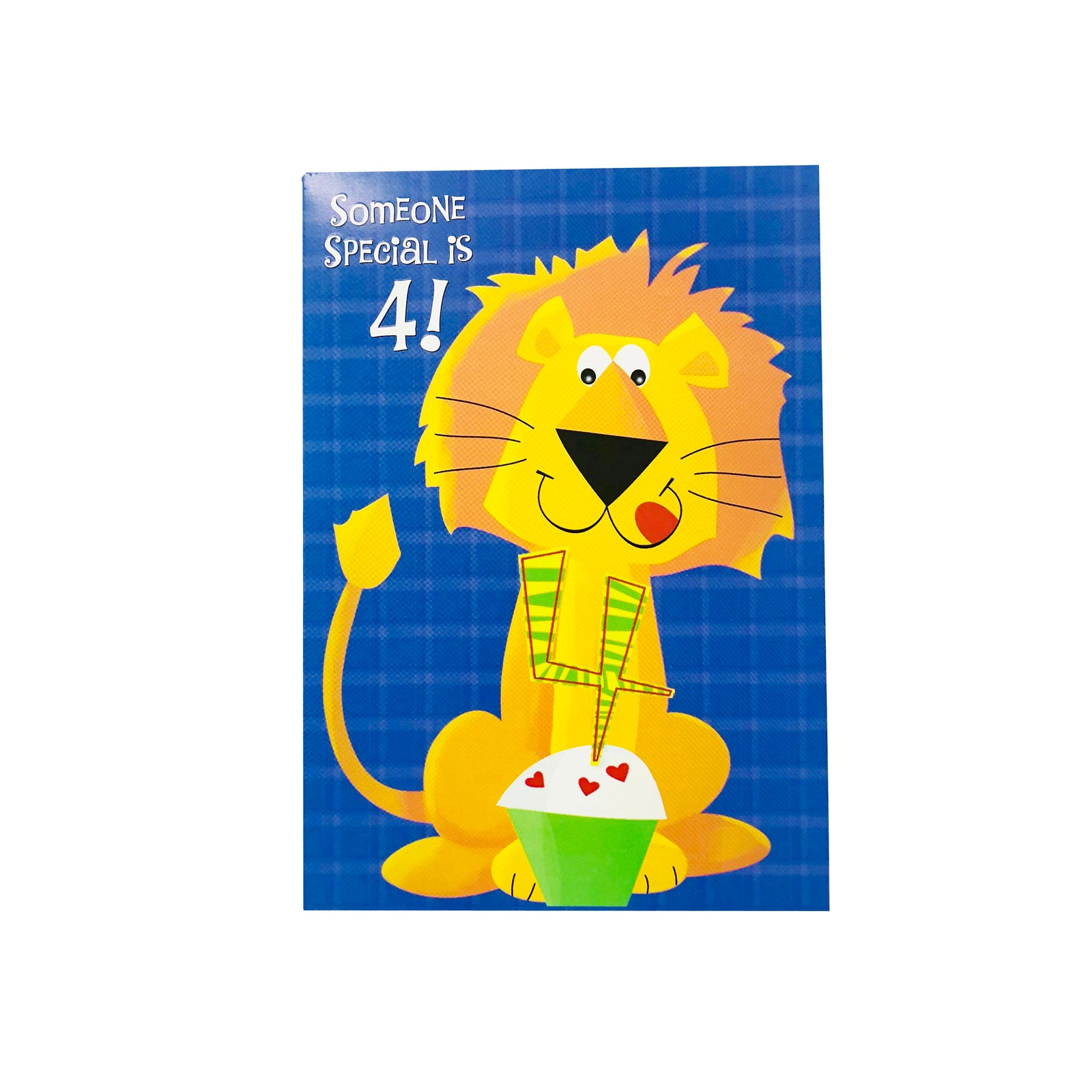 Designer Greetings Birthday Card Age 4 - Someone Special Is 4 - Lion