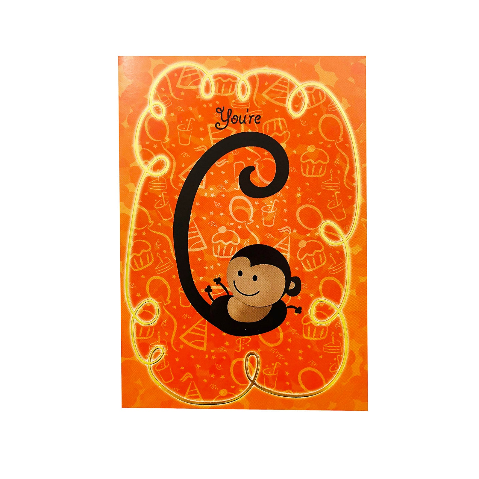 Designer Greetings Birthday Card Age 6 - You're 6 - Monkey