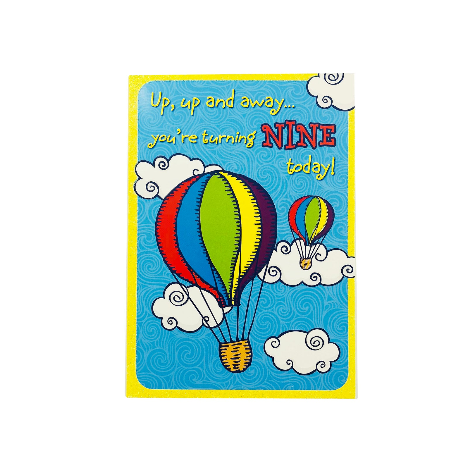 Designer Greetings Birthday Card Age 9 - Up Up And Away Hot Air Balloon