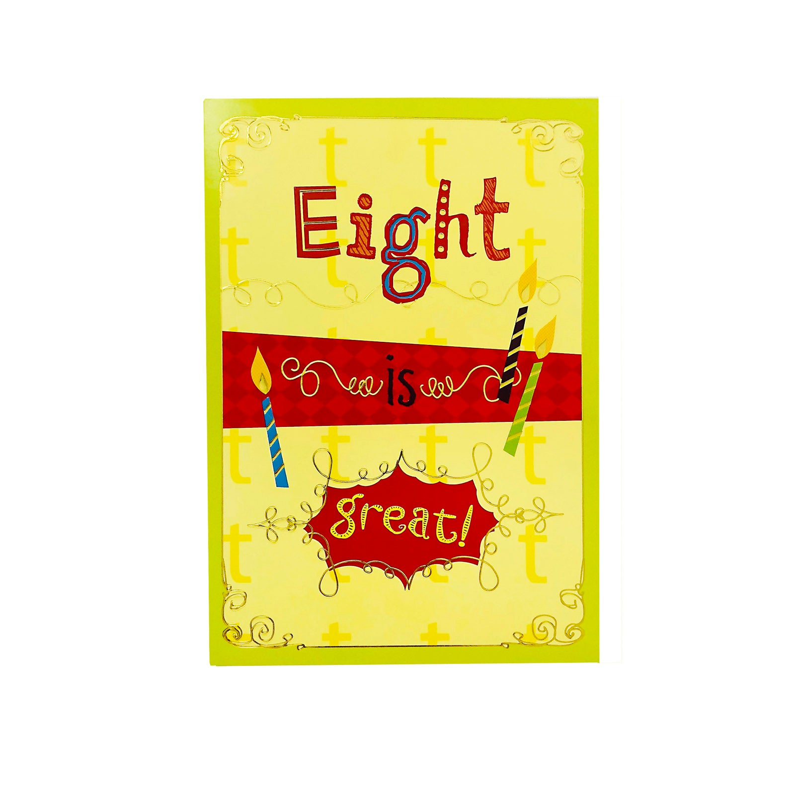 Designer Greetings Birthday Card Age 8 - Eight Is Great - Candle
