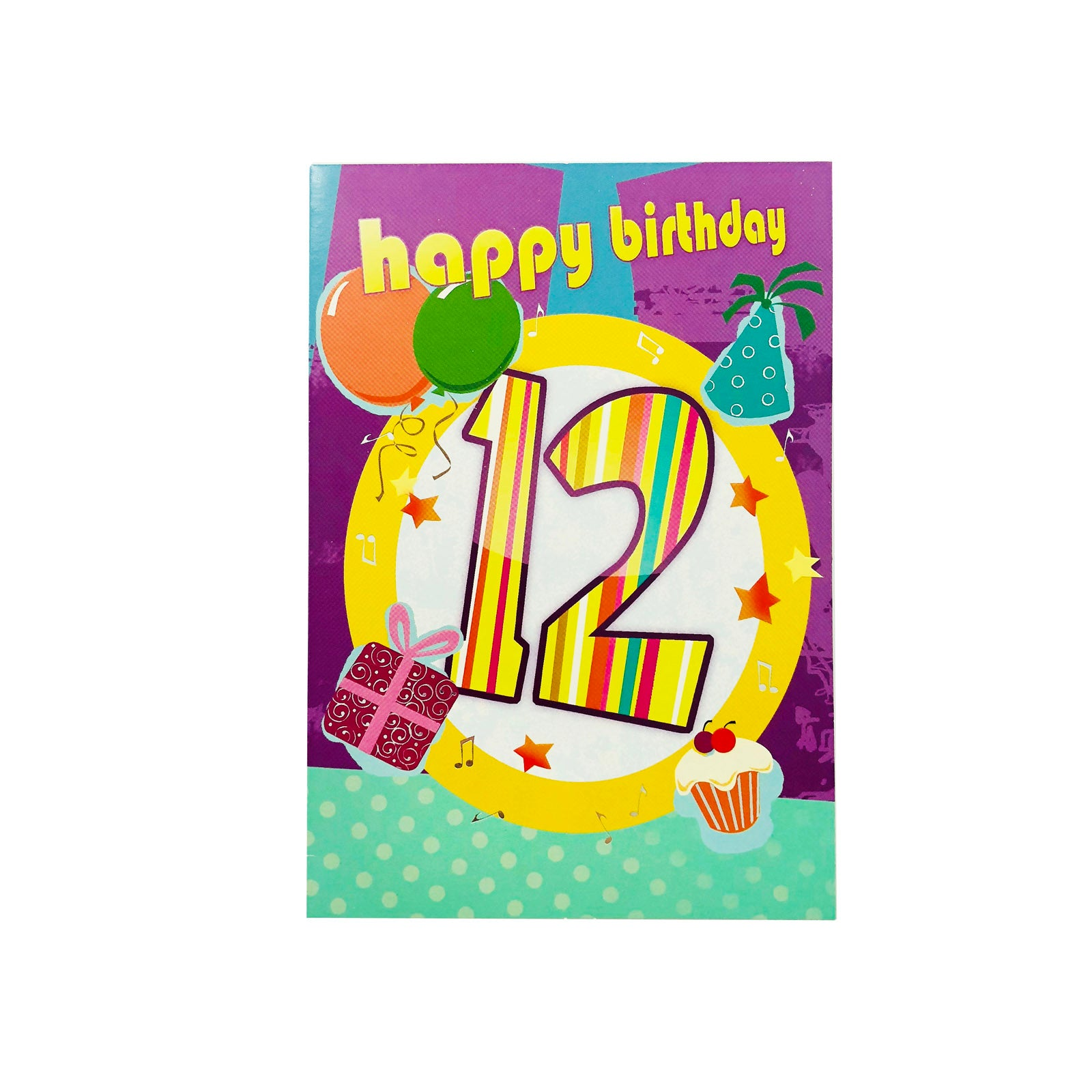 Designer Greetings Birthday Card Age 12 - Happy Birthday - Striped