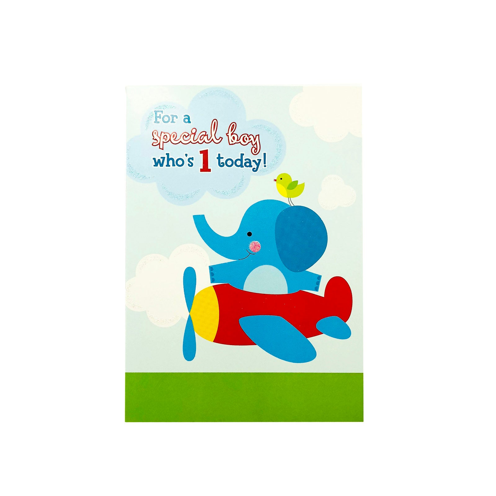 Designer Greetings Birthday Card Age 1 - For A Special Boy - Elephant Plane