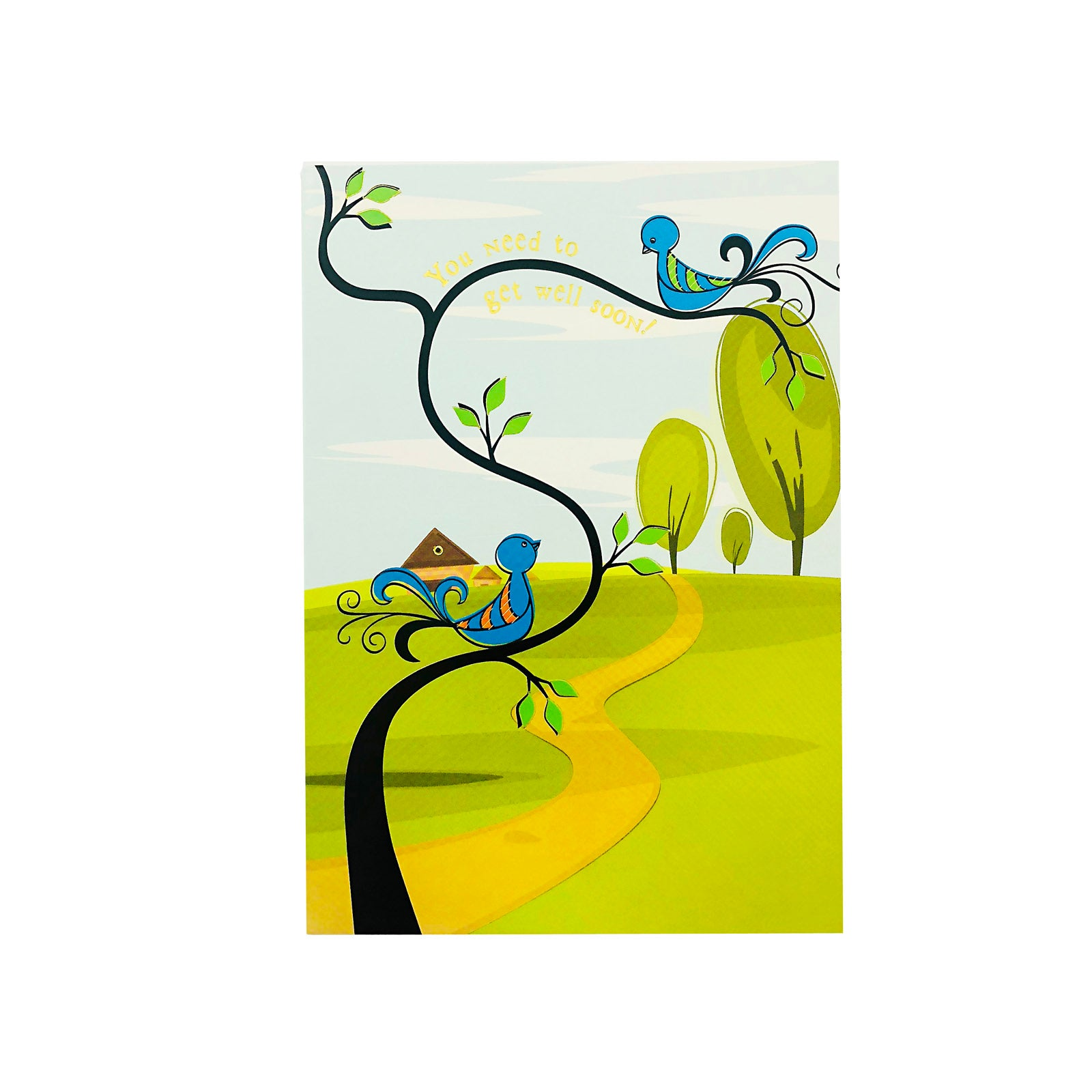 Designer Greetings Get Well Card - You Need To Get Well Soon - Birds
