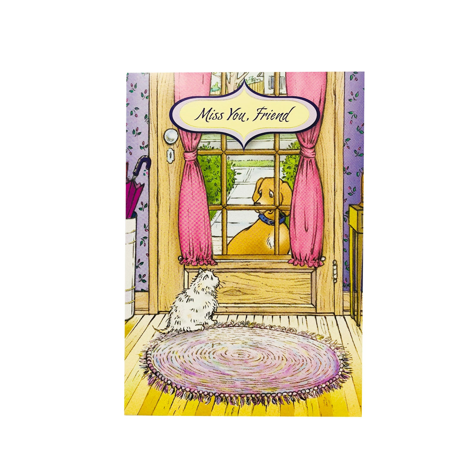 Designer Greetings Love Card - Miss You Friend - Dog And Cat