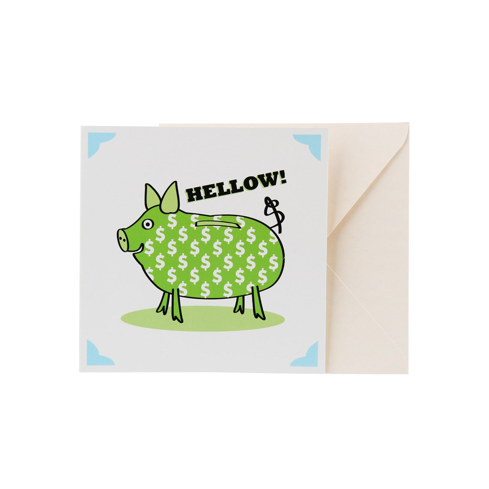 Hello Card - Hellow! - Green Money Pig