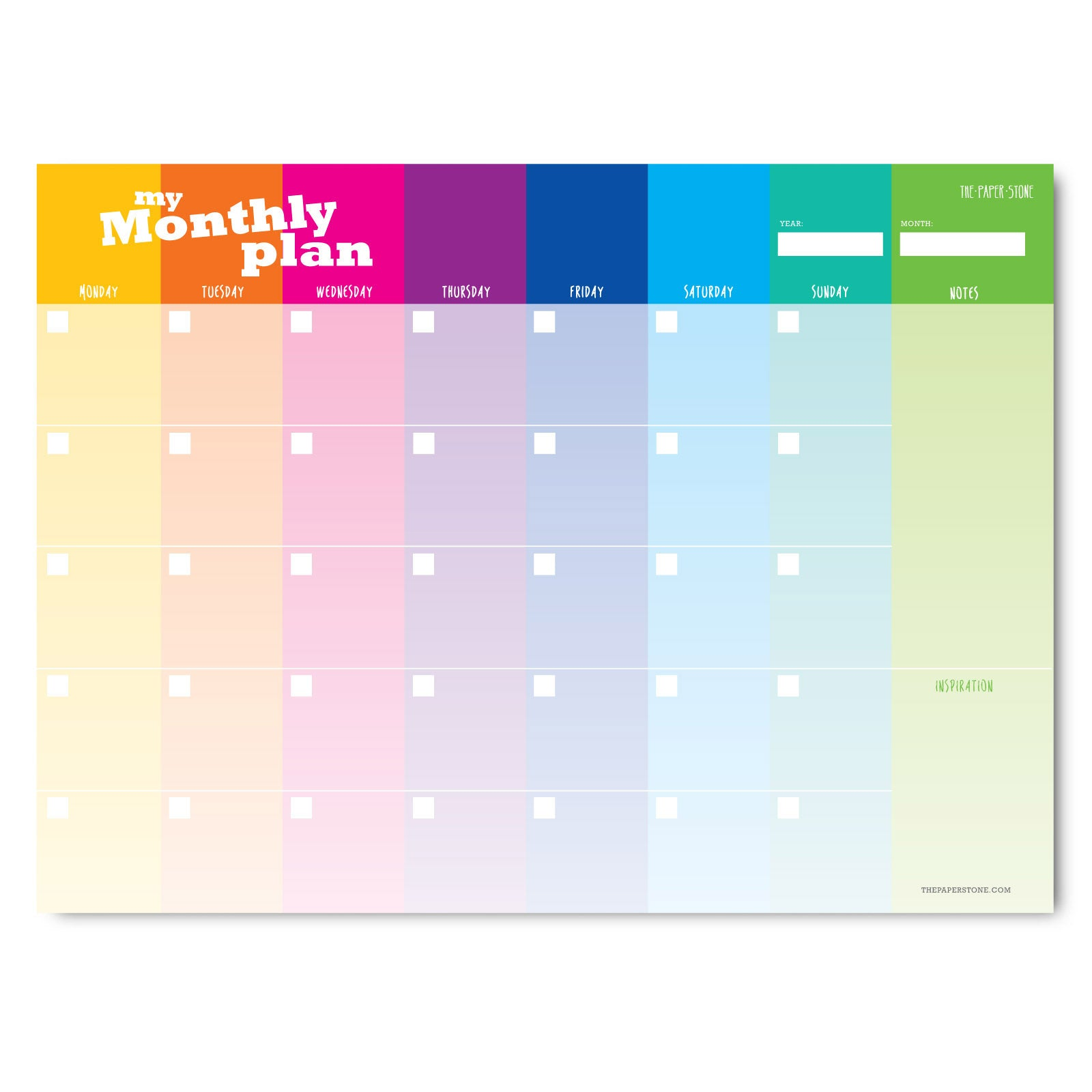 A4 Planner - Monthly Plan Rainbow