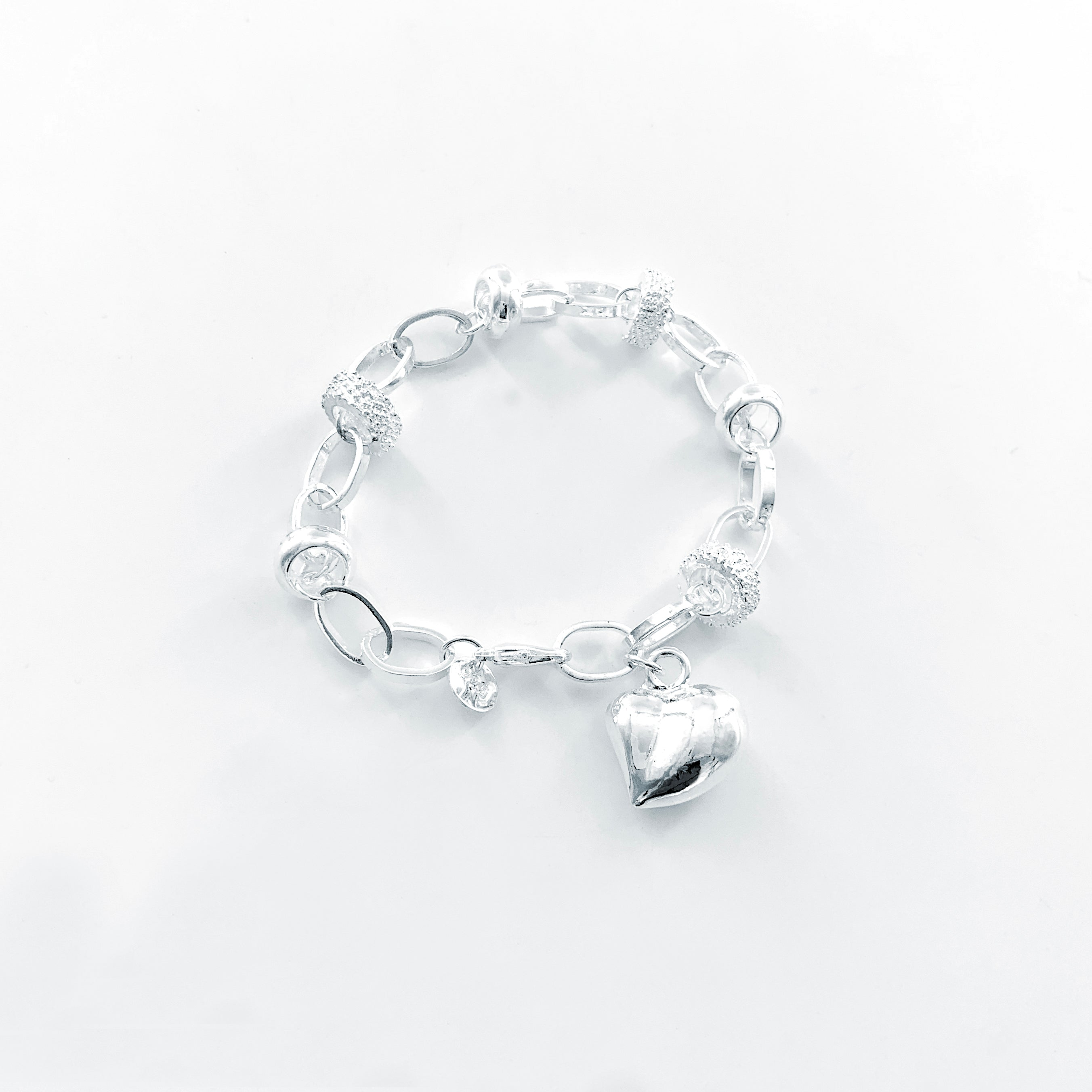 Silver Heart pendant with Diamante accented Chain Bracelet