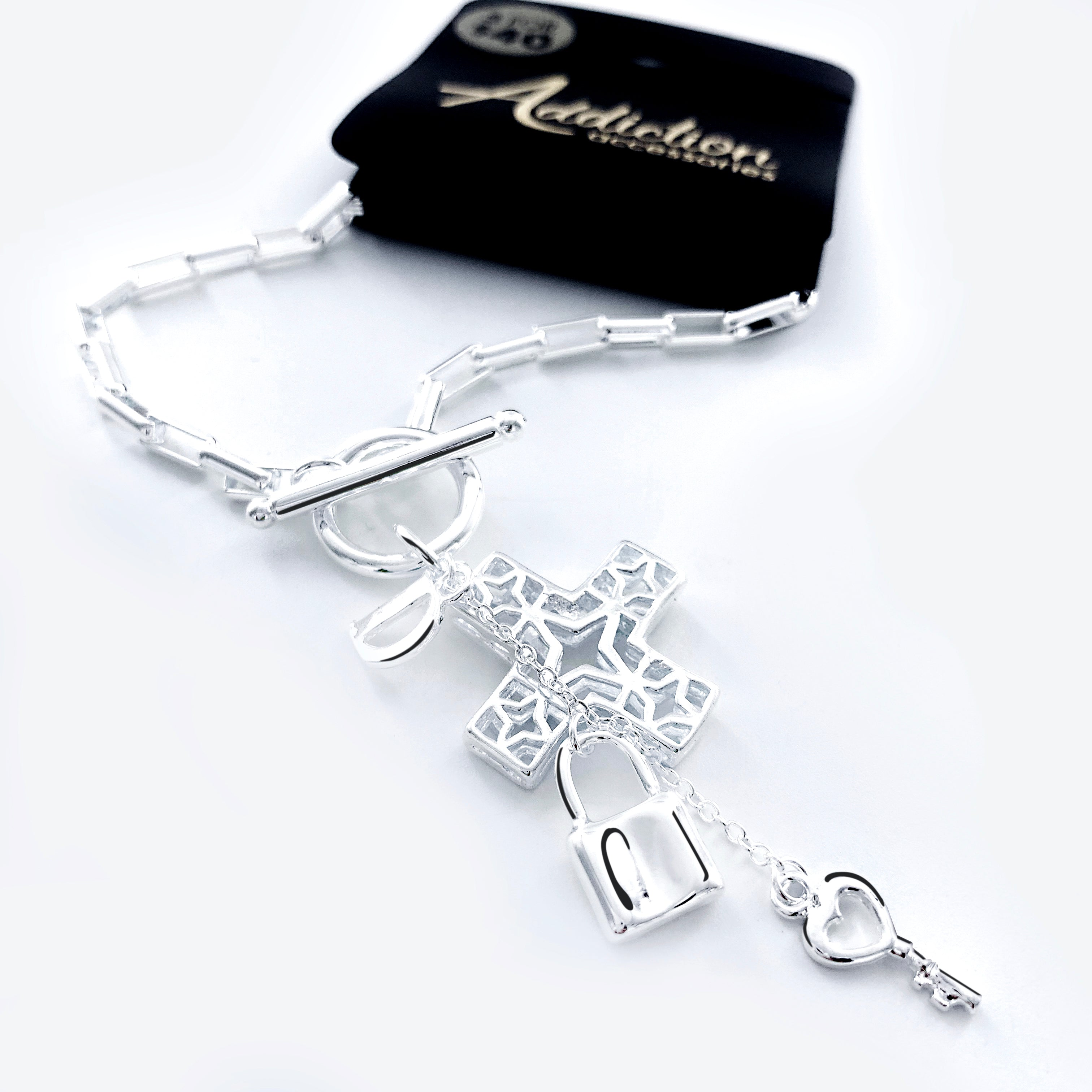 Chain Bracelet with Cross, Lock, Key Charms