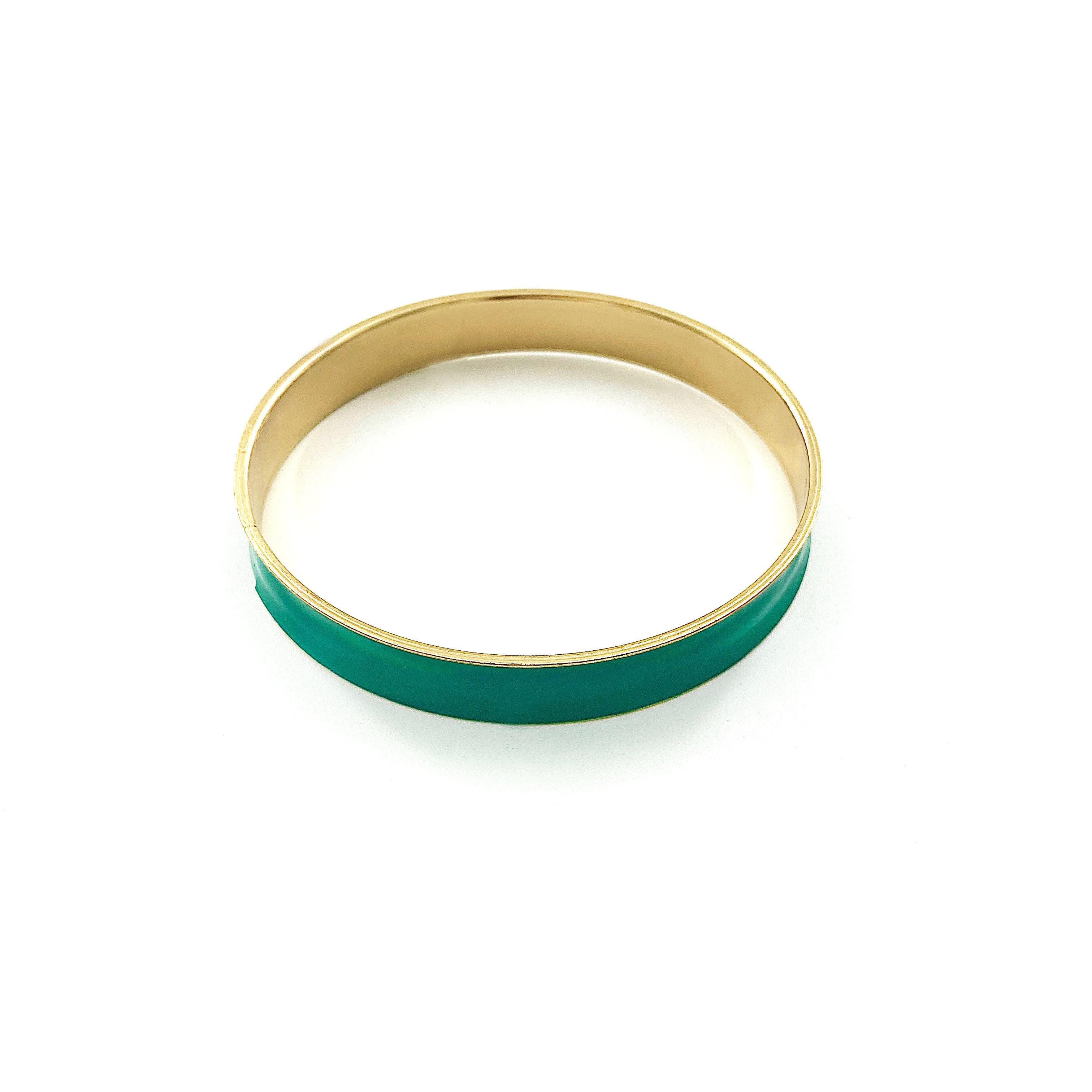 Green and gold bangle with enamel finish
