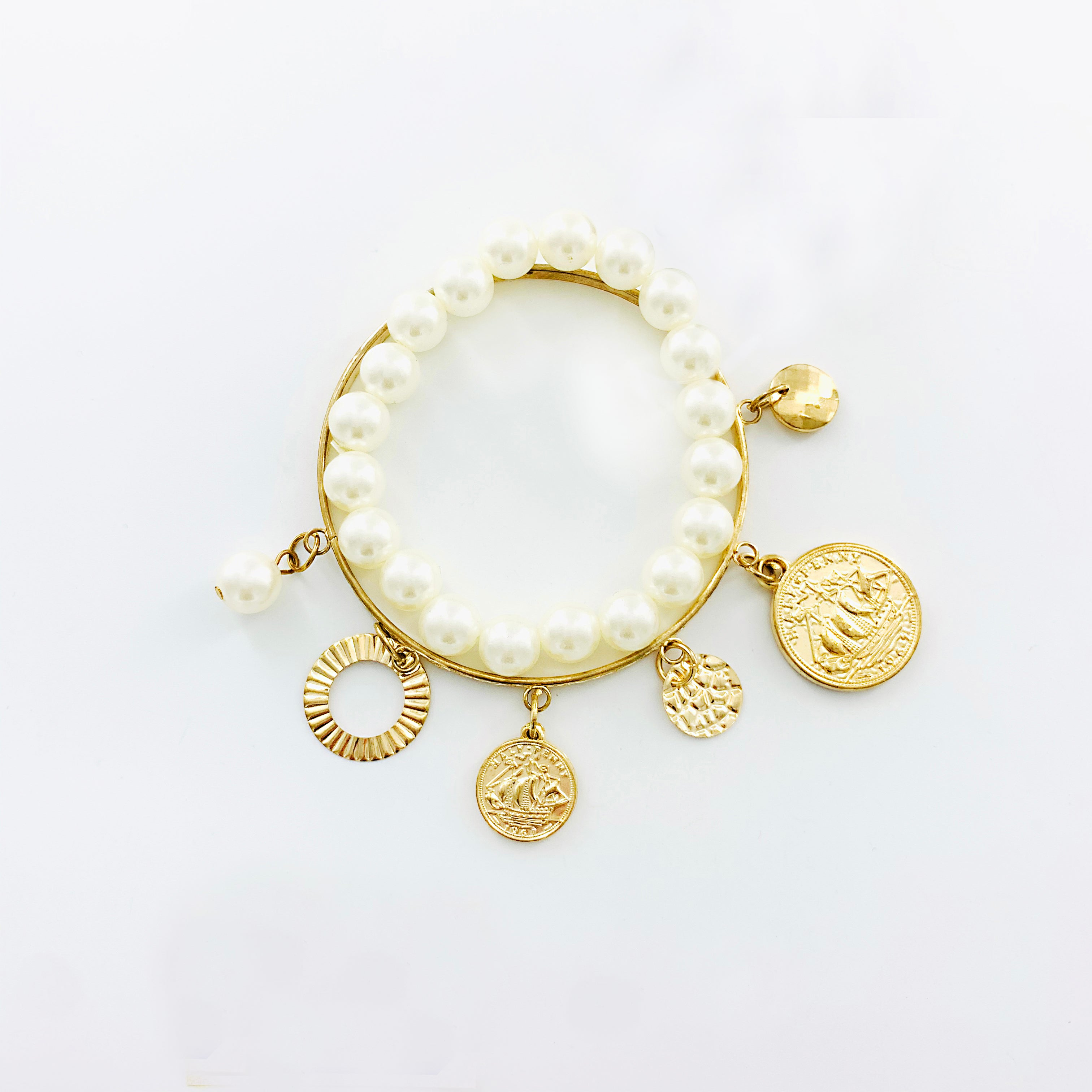 Pearl and gold bangle with gold coin charms - gold
