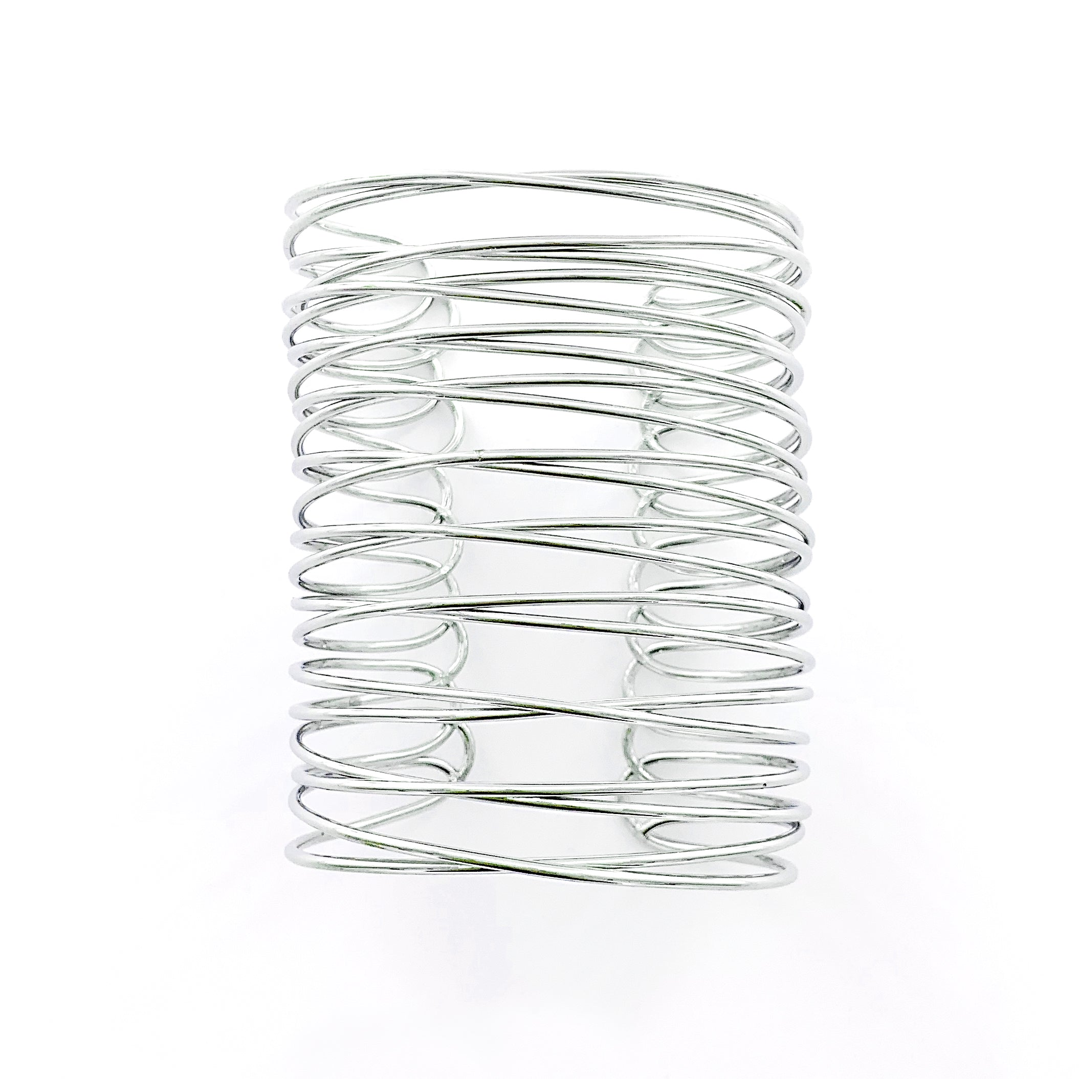 Wide cuff with wiry metal in Silver
