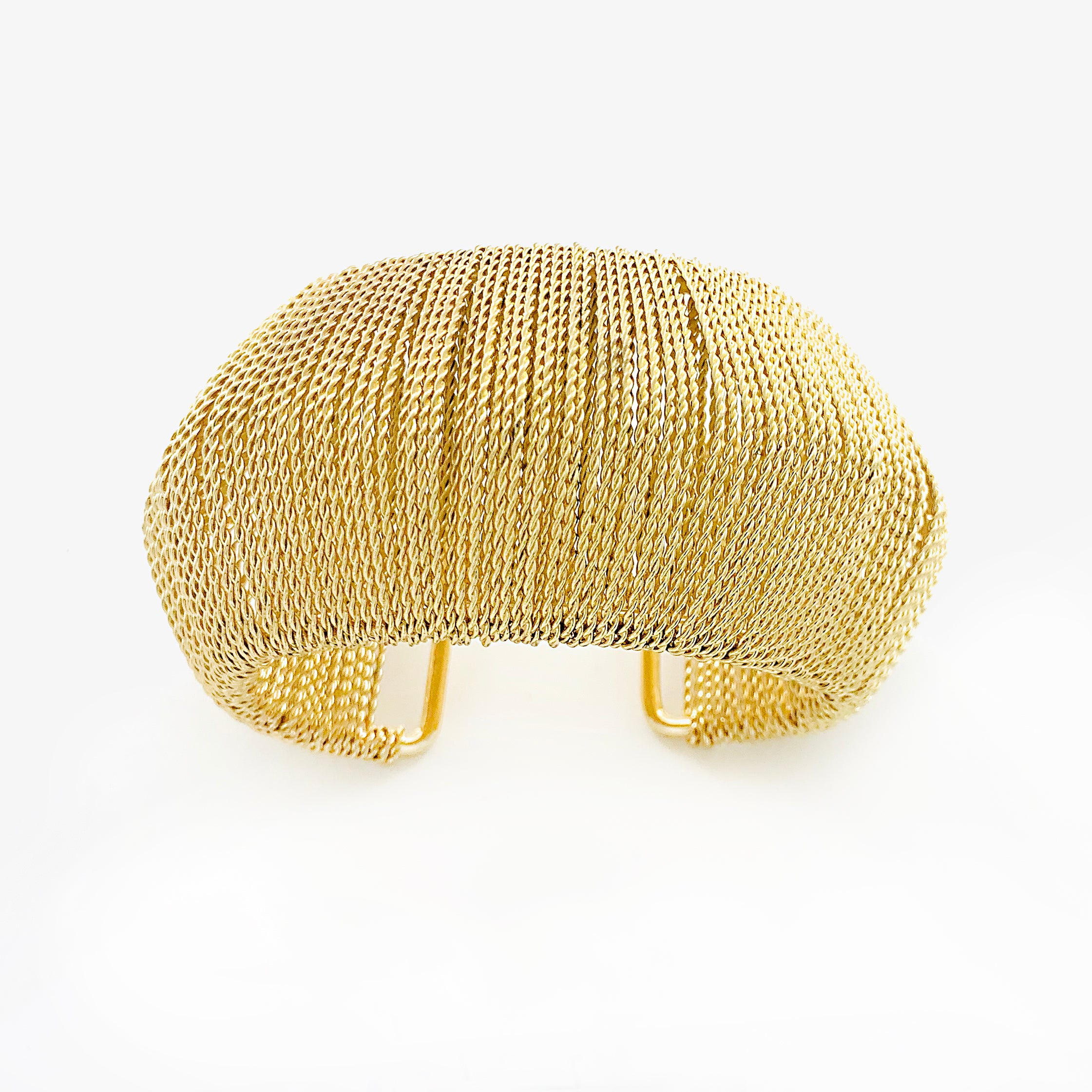 Gold Cuff with twisted gold strands