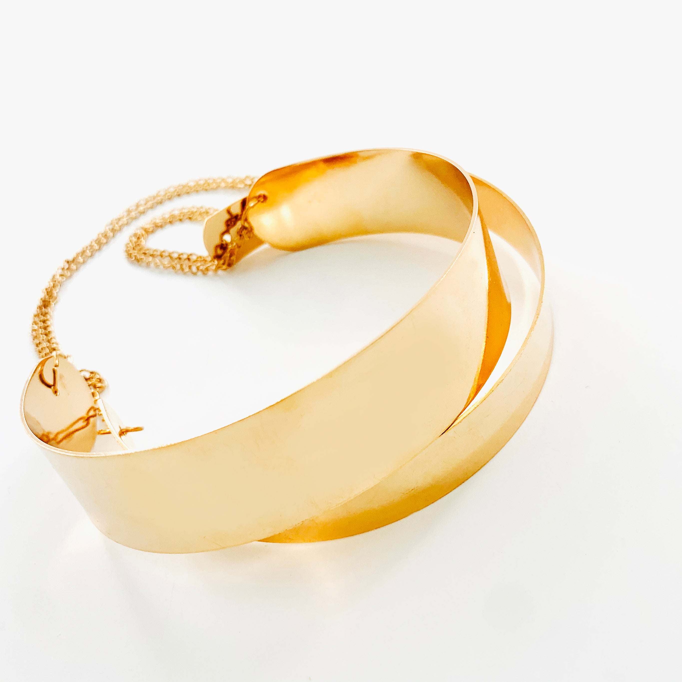 Gold Double bangle with gold chains