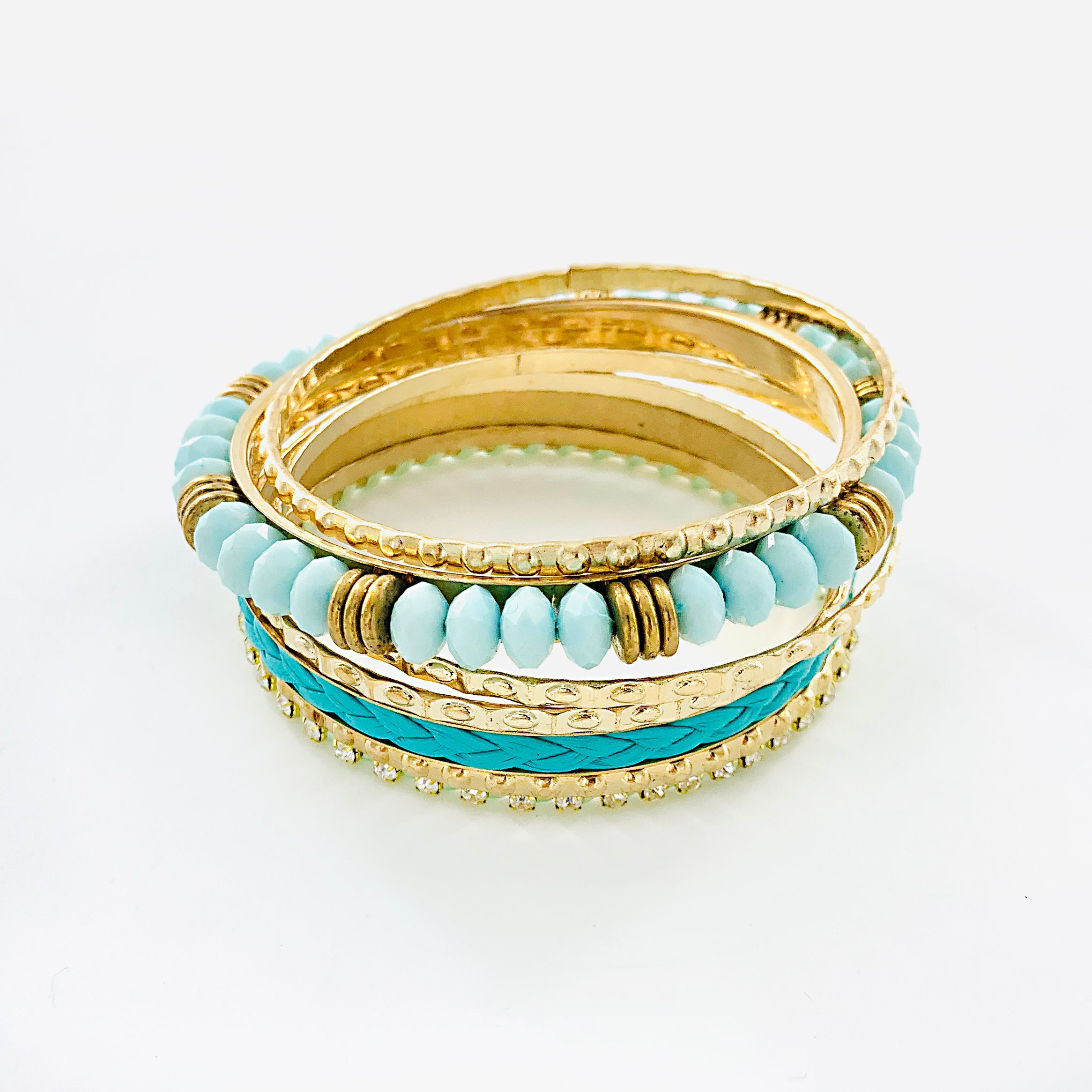 Gold Bangles with Turquoise beads and Diamante stones