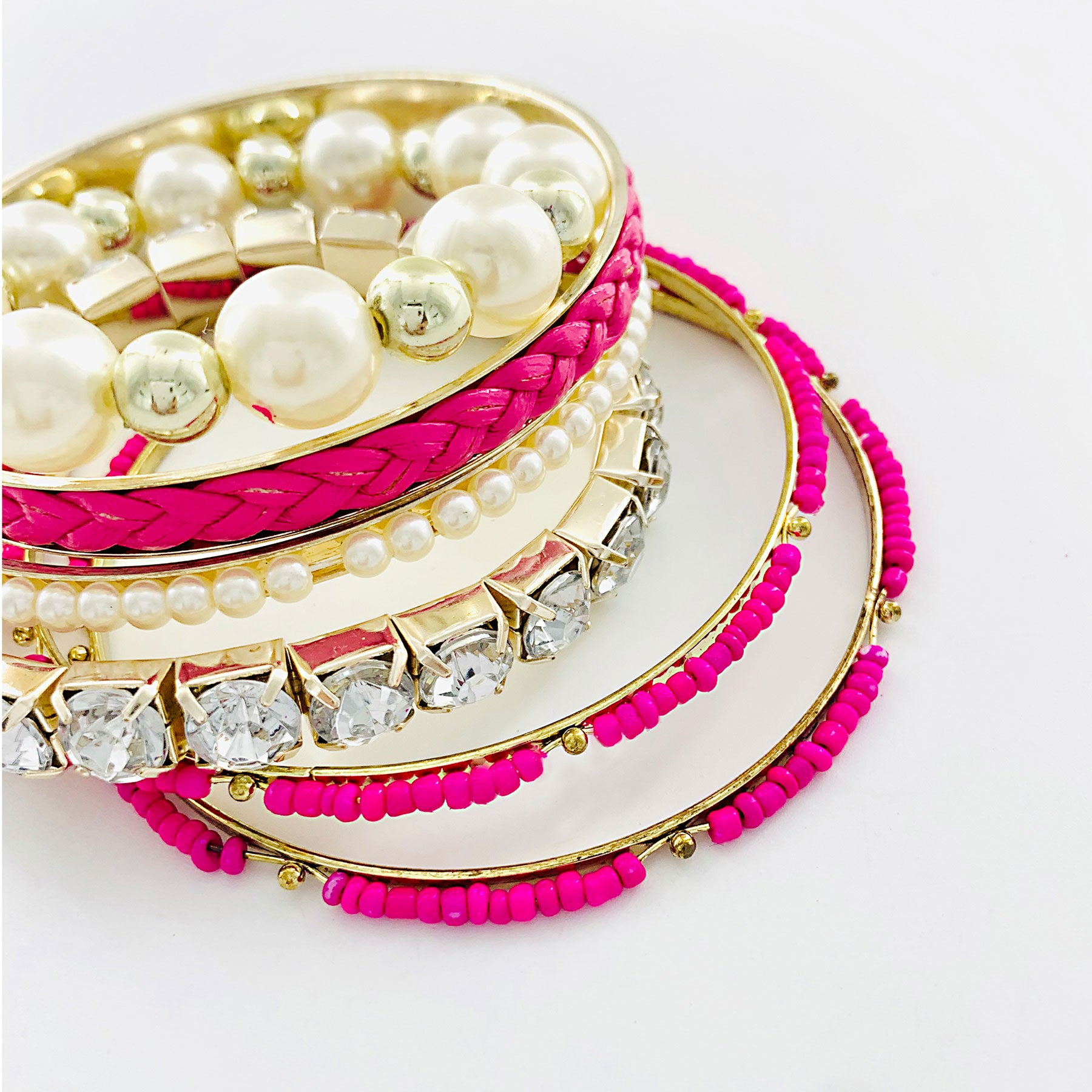 Gold Bangles with Hot Pink beads, Pearls and Diamante stones