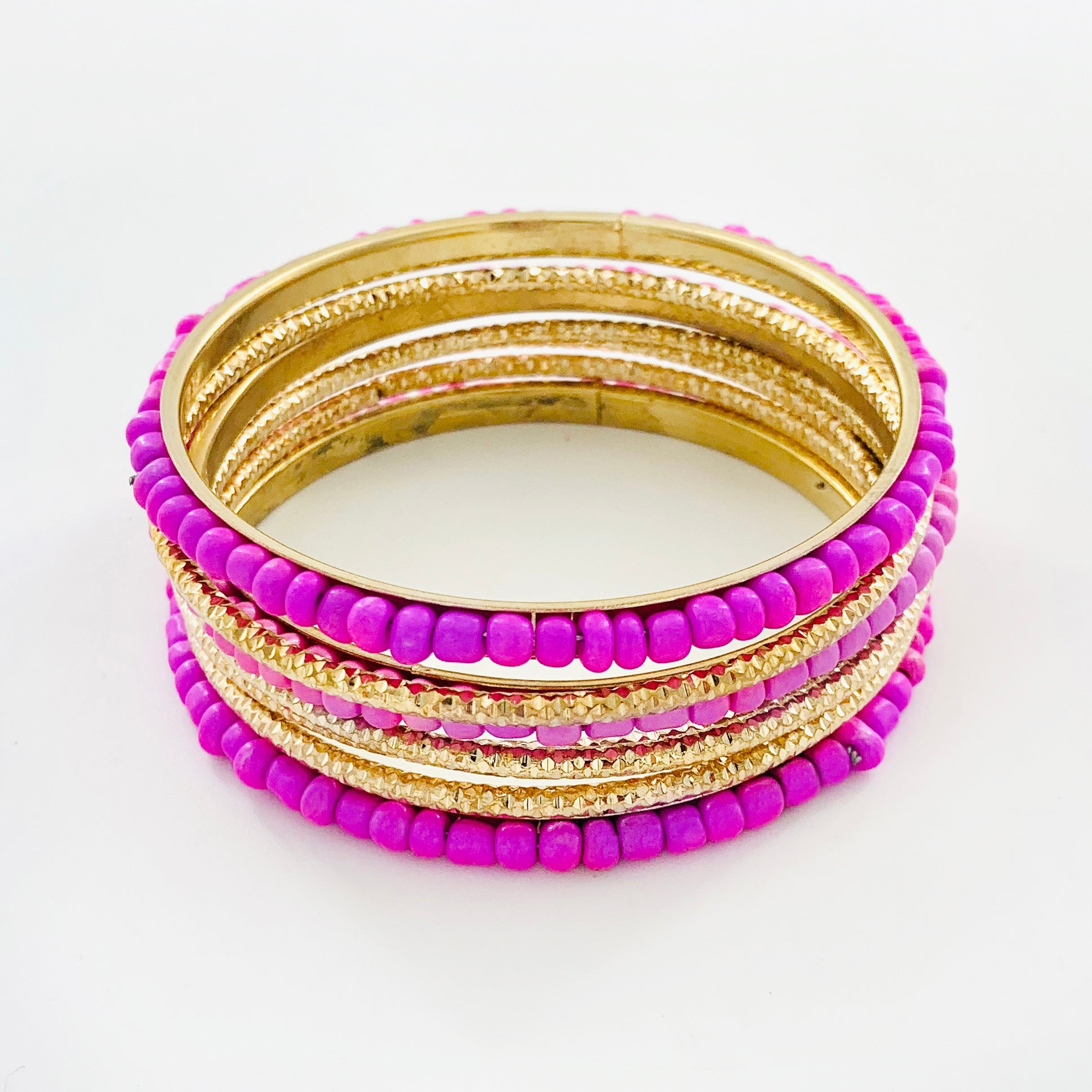 Violet beads and Gold ethnic bangles