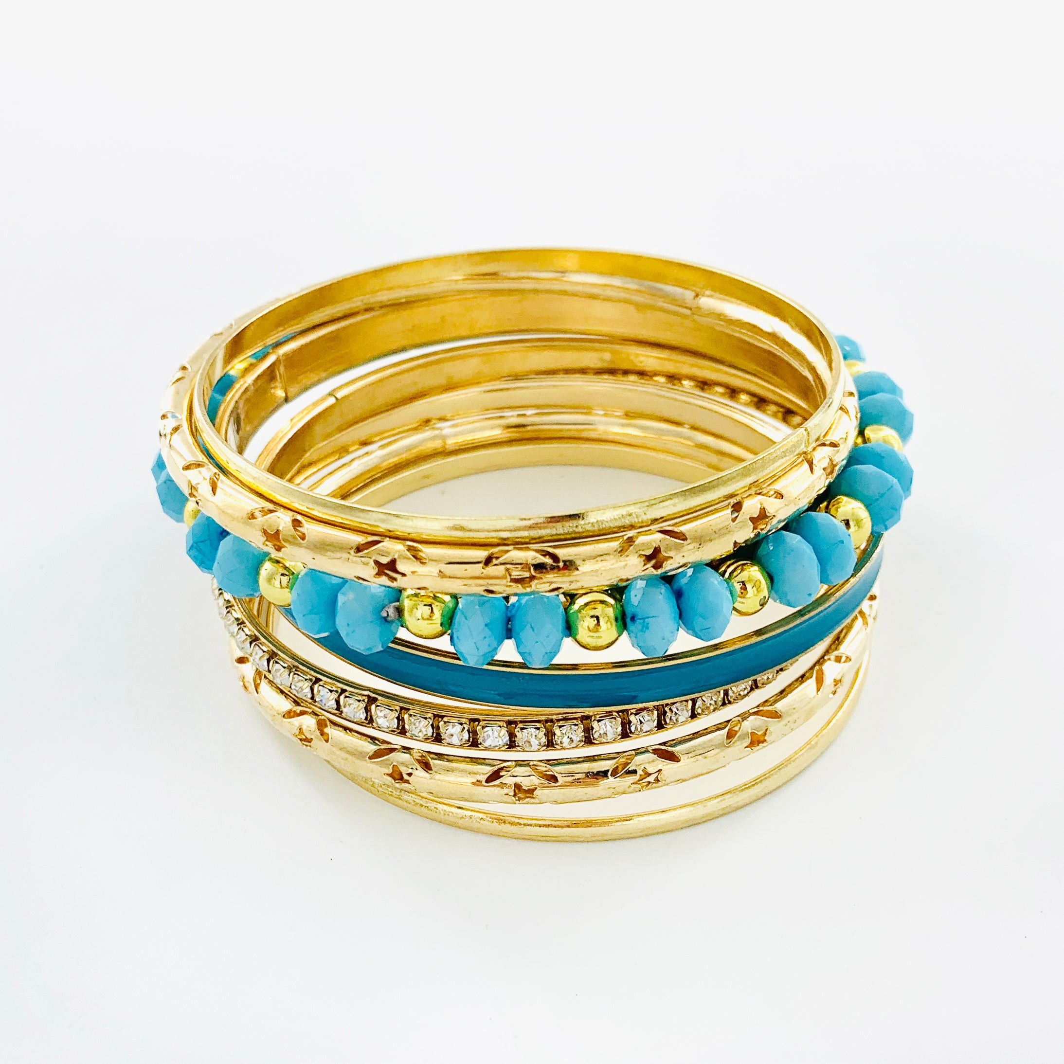 Gold Bangles with Blue beads and Diamante stones