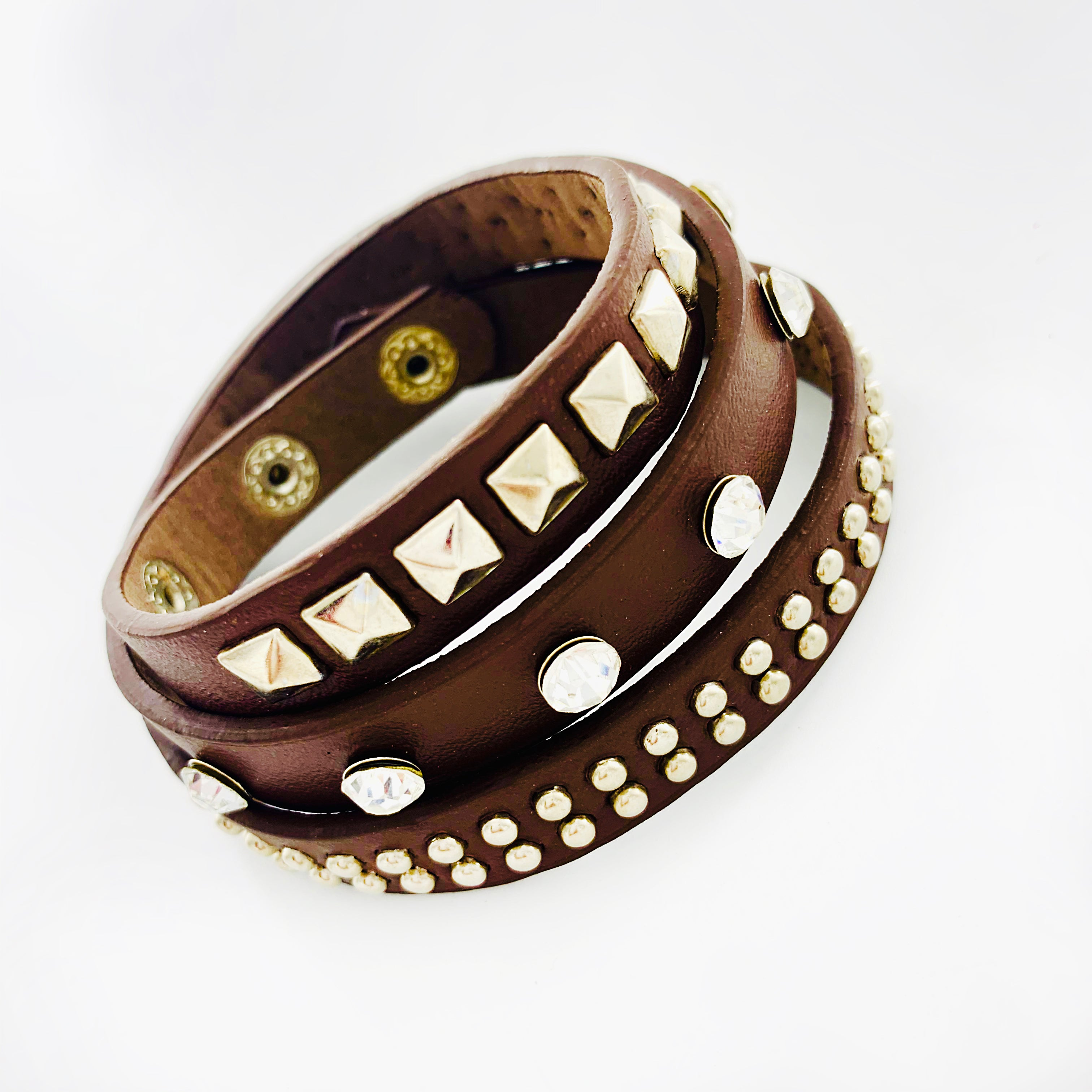Brown leather wrap bands with stones and studs